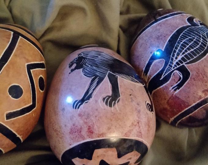 3 Kenyan Stone Eggs- Light brown and black vintage African folk art