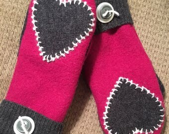 A28    Hand appliquéd felted wool mittens size small
