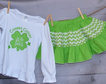 St Patrick's Day Cutest Clover in the Patch Applique Shirt or Onesie Boy or Girl - Skirt Available