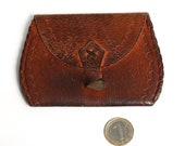 Vintage Leather Woman Money Purse, Small Retro Change Purse, Vintage Leather Portfolio, Folding Billfold, Vintage coin purse