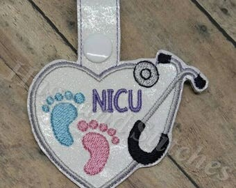 NICU Heart Stethoscope - Neonatal Intensive Care Unit - Stethoscope Tab - Key Fob In The Hoop - DIGITAL Embroidery DESIGN