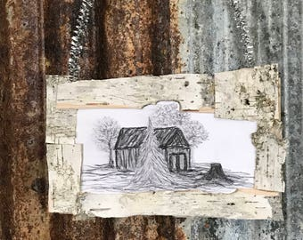 Rustic Wood Ornament, Primitive Home Decor, Holiday Decor, Country Christmas, Cabin, Lodge, Birch Bark, Silver Tinsel, Gift, Trees, Office