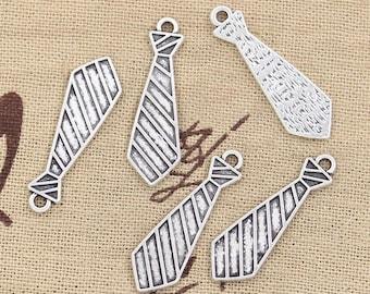 Silver tie 2 X 30mm Tibetan