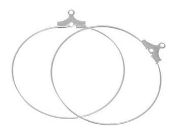 X 4 hoop silver plated 30mm