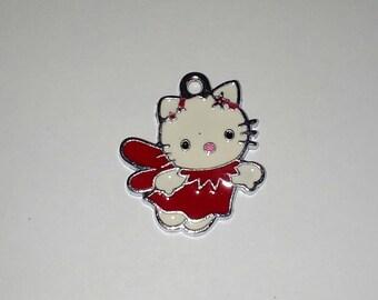 X 1 cat kitty Angel red enamel 25mm