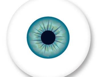 1 cabochon eye blue metal 25mm