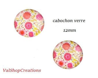 X 2 glass flower Cabochons 12mm pink