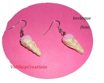 Strawberry earrings polymer clay ice cream cone ball
