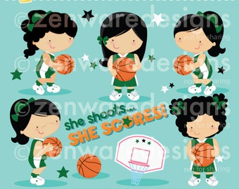 Basketball Girls Clipart