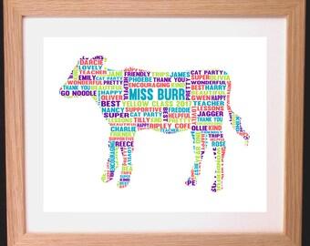 Personalised Calf Word Art Gift