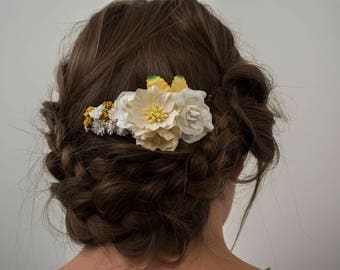 Yellow Floral Hair Comb