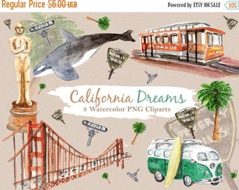 50% Off California Clipart Watercolor Digital Download Travel USA State San Francisco Rodeo Drive Beverly Hills Invite Paint Original