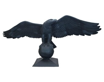 Massive Eagle Statue or Sculpture Huge Wing Span on Pedestal Architectural Building Element