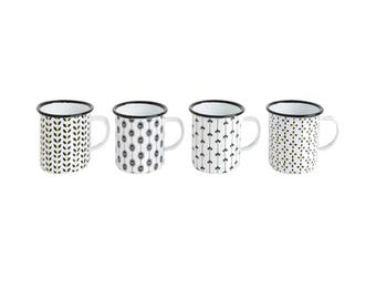 Agate Ceramic over Tin Enameled Mugs Set of Four in Black and White Fun Gift