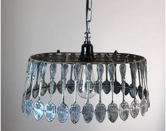 Spoon Chandelier Pendant Light Fixture Ceiling Mounted Aged Hand Made Fixture