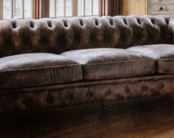 Extra Long Aged Leather Couch With Brass Hardware Feet
