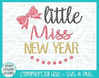 Little Miss New Year - Hair Bow and Pearl Necklace SVG & PNG Design - Commercial Use OK