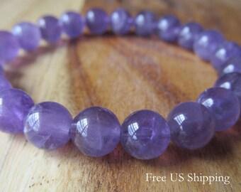8mm Amethyst Bracelet, Bracelet for Women or Men, February Birthstone, Mala Bracelet, Natural Stone Bracelet  Beaded Bracelet, ,Yoga Jewelry
