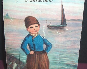 """Bizarre vintage """"Greetings from Amsterdam"""" fold-out postcard"""