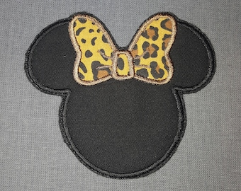 Mrs Misses Minnie Mouse Ears Cheetah  Bow Iron on No Sew Embroidered Patch Applique
