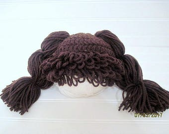 Newborn Hat, Cabbage Patch, Dark Brown, Baby Hat, Baby Doll Hat, Crochet Hat, Hat, Wig, Costume, Baby Costume, Baby Wig, Photo Prop, Pigtail