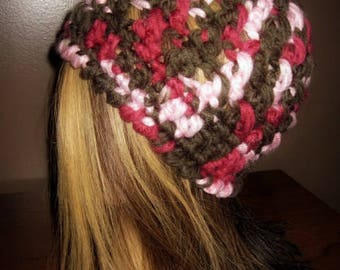 Womens Chunky Hat, Soft Hat, Chunky Winter Hat, Chunky Beanie, Womens Hat, Womens Crochet Hat, Soft Yarn, Pink, Brown