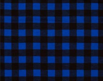 Blue Buffalo Plaid Fabric, Lumberjack Flannel, By the Half Yard, By the Yard, Lumberjack, Woodland Fabric, Blue Black Plaid, Camelot