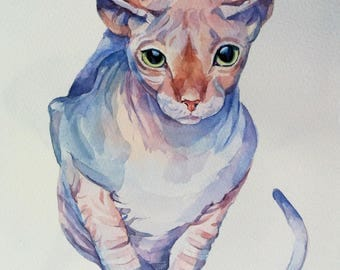Custom pet Painting, Dog pet Portrait, Cat Pet Portrait, Sphynx Cat  Portrait, make to order-Original Watercolor Painting