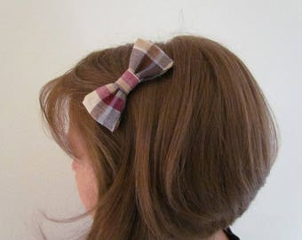 Pastel Plaid bowtie hair clip