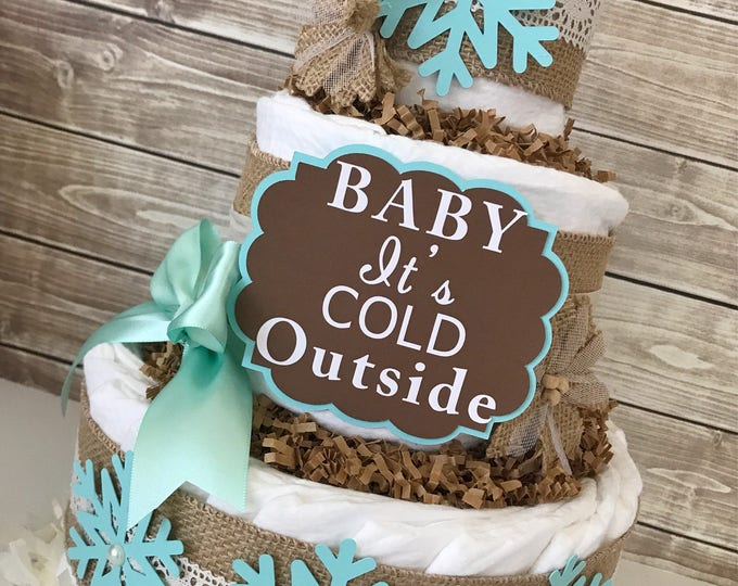 Featured listing image: Baby It's Cold Outside in Burlap and Mint, Winter Theme Baby Shower Centerpiece