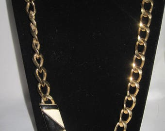 "Vintage MONET 36"" Black and White gold tone chain"
