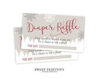Baby It's Cold Outside Diaper Raffle Cards, Printable, Diaper Raffle Tickets, Winter Baby Shower, Snowflake, Invitation Insert, Neutral