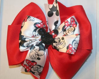 "Red 7"" Minnie Mouse hairbow"