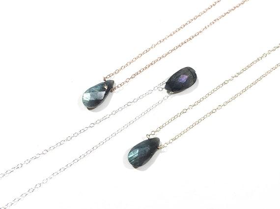 Labradorite Teardrop Choker Necklace // Sterling Silver, 14k Gold Filled or 14k Rose Gold Filled