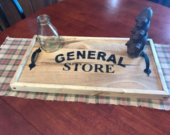 Distressed rustic General store tray