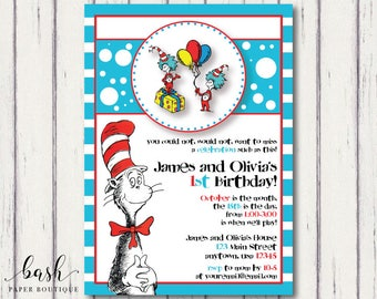 Thing 1 and Thing 2 Invitation, Twin Invitation, Sibling Invitation, Dr Suess, Cat in the Hat, Cat in the hat birthday, Cat in the hat party