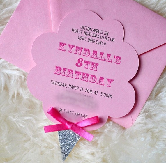 Custom Cotton Candy Invitations