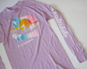 Vintage 1980s Fort Lauderdale Florida Spring Break Long Sleeve T Shirt / Beach Graphic /Small