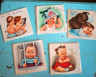 Vintage Lot of 5 Unused ALL OCCASION Cards & Envelopes-Toddler Illustrations-Retro Precious!