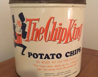 Vintage The Chip King Potato Chip Tin