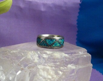 ON SALE Vtg Southwest Ring 925 Sterling Silver Band Inlaid Turquoise Sz 6 #743