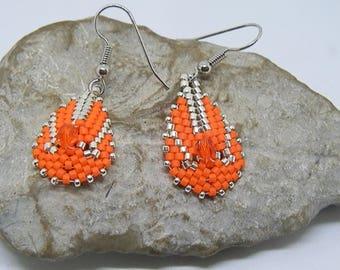 Orange and silver weave earrings