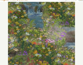 Summer Sale- Artworks IV~Scenic Nature Garden~Digital Cotton Fabric,Quilting Treasures Fast Shipping F907