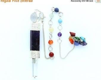 ON SALE Amethyst pendulum with Chakra Chain