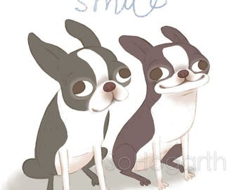 "Boston Terriers Smile. 8x11"" Matte Paper Dog Art Print, signed."