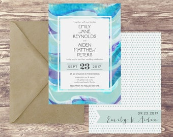 The Santa Rosa Wedding Invitation and RSVP Set, Beach Wedding Invitations, Ocean Wedding Invitations, Beach Destination Wedding Invitations