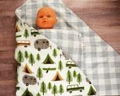 Easy Swaddle Doll Blanket - Camper Print