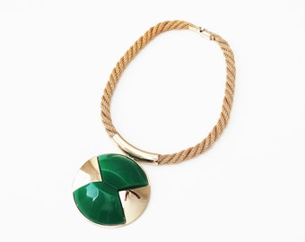 1970s Lanvin Paris Green Lucite and Gold Tone Metal Pendant High Fashion Statement Necklace
