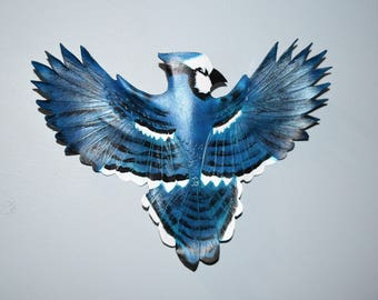 Leather bird - Blue jay - 10 inch wingspan