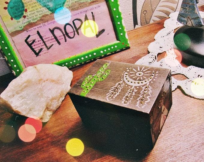 Boho Jewelry Box - Wooden Keepsake Box - Southwestern Decor - Small Trinket Box - Saguaro Cactus Decor - Gift for Her- Ready to Ship